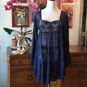Johnny Was Silk Eyelet Embroidered Tunic/Dress